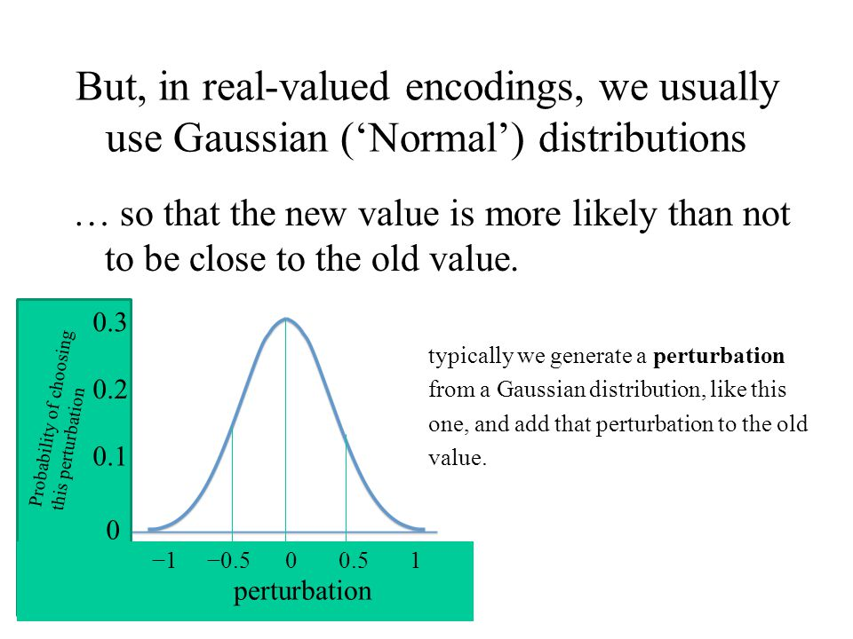But, in real-valued encodings, we usually use Gaussian ('Normal') distributions … so that the new value is more likely than not to be close to the old value.