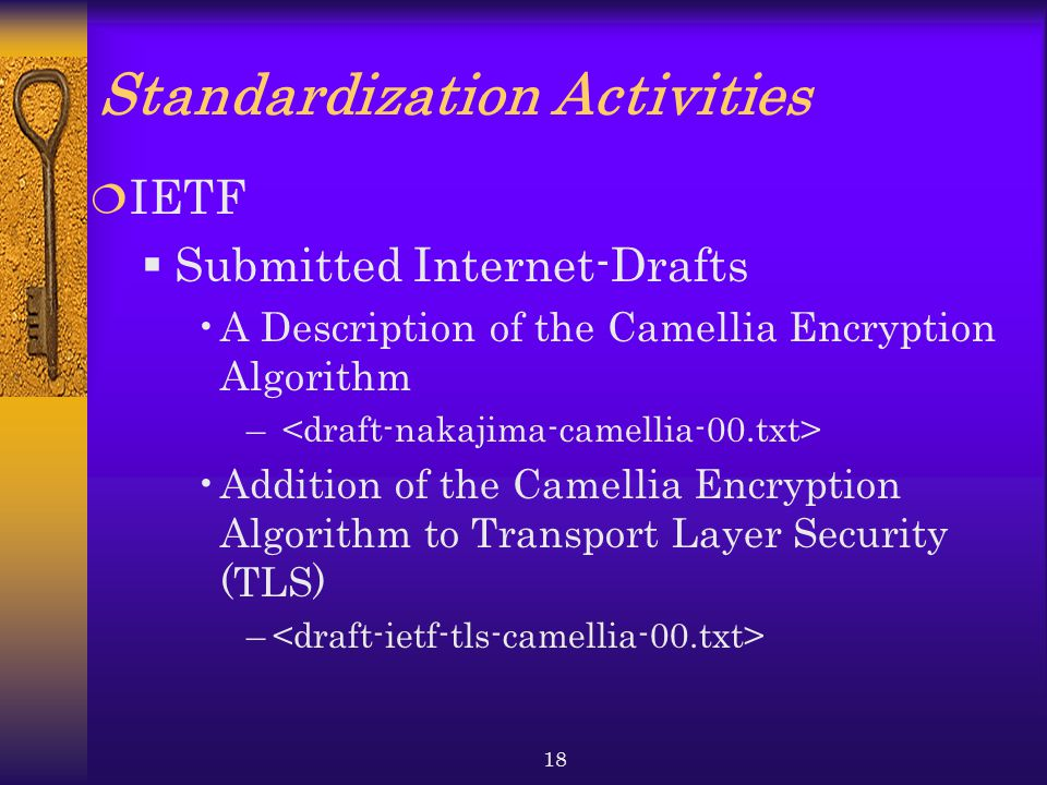 18 Standardization Activities  IETF  Submitted Internet-Drafts A Description of the Camellia Encryption Algorithm – Addition of the Camellia Encryption Algorithm to Transport Layer Security (TLS) –