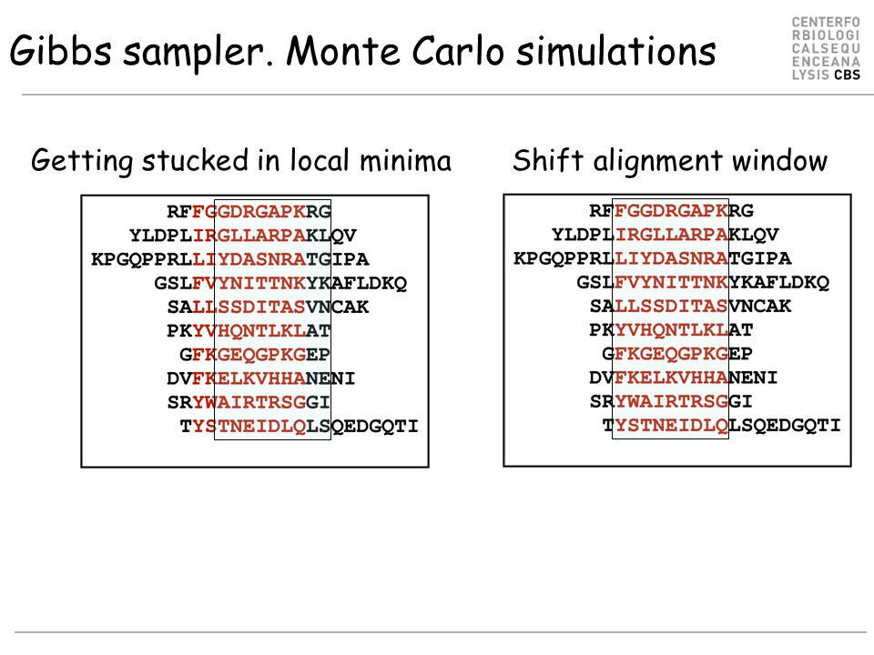 Shift alignment window Gibbs sampler. Monte Carlo simulations Getting stucked in local minima