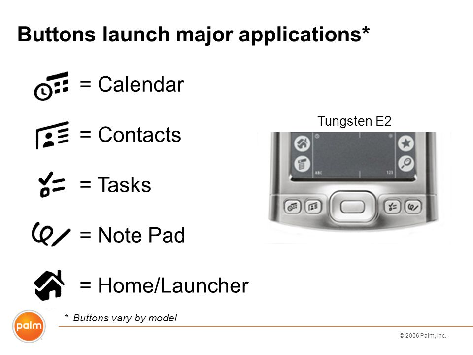 © 2006 Palm, Inc. Tungsten E2 Buttons launch major applications* = Calendar = Contacts *Buttons vary by model = Tasks = Note Pad = Home/Launcher
