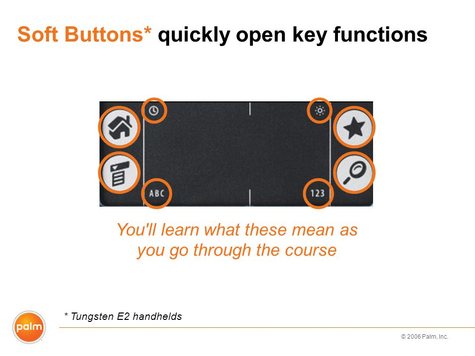 © 2006 Palm, Inc. Soft Buttons* quickly open key functions You'll learn what these mean as you go through the course * Tungsten E2 handhelds