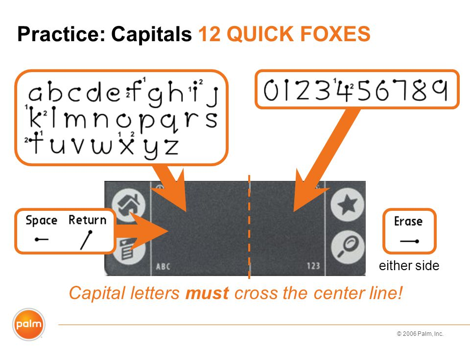 © 2006 Palm, Inc. Practice: Capitals 12 QUICK FOXES Capital letters must cross the center line! either side