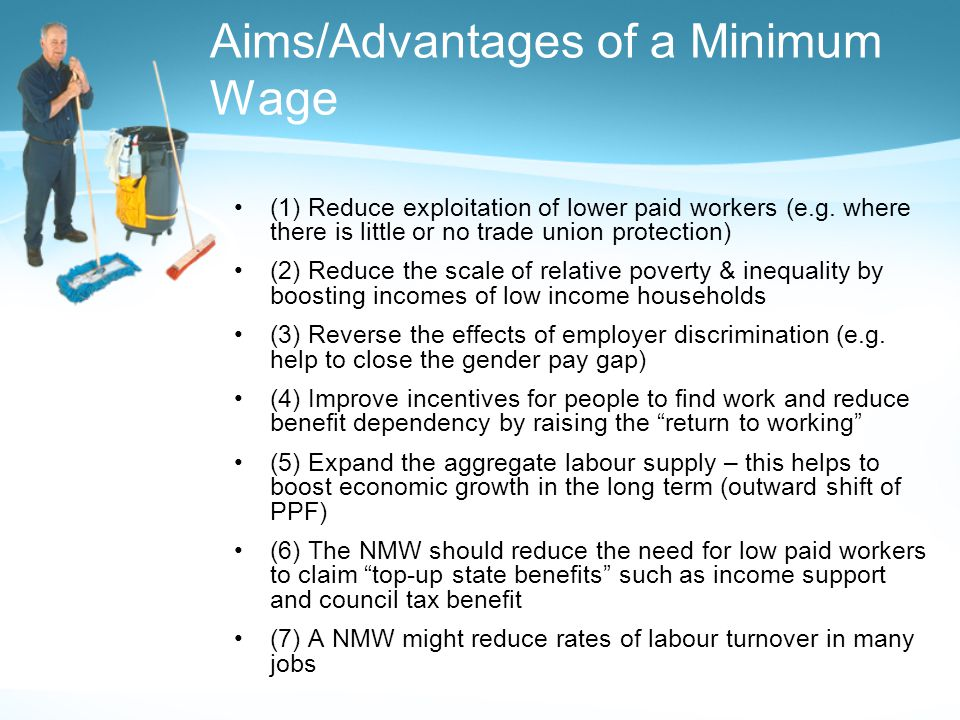 Aims/Advantages of a Minimum Wage (1) Reduce exploitation of lower paid workers (e.g.