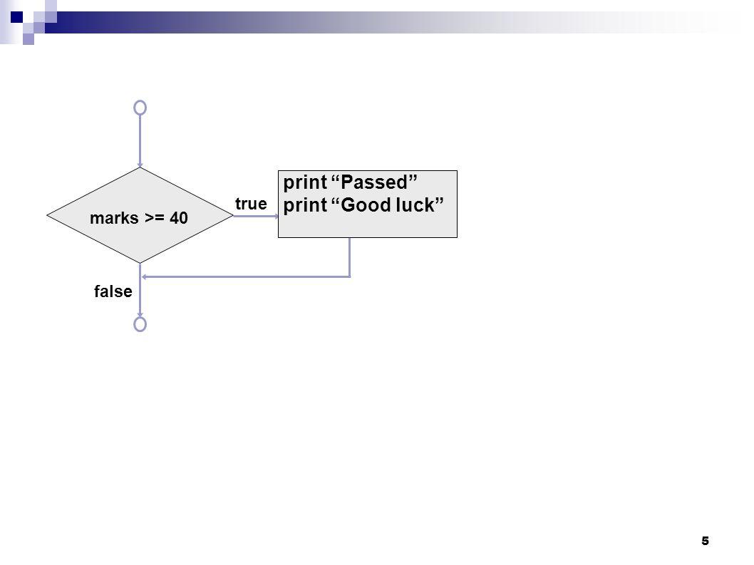 5 true false marks >= 40 print Passed print Good luck