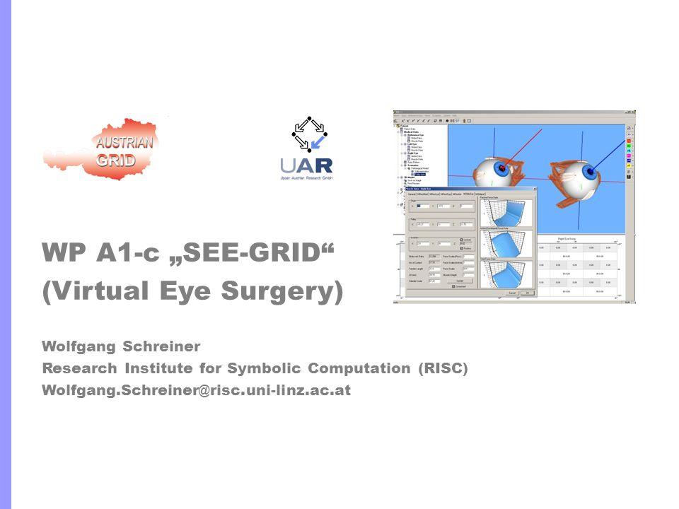 RISC/UAR http://www.risc.uni-linz.ac.at http://www.uar.at 2 SEE-GRID n Joint Project n Research Institute for Symbolic Computation (RISC) n Wolfgang Schreiner, Rebhi Baraka*, Karoly Bosa* n Upper Austrian Research GmbH (UAR) n Michael Buchberger, Thomas Kaltofen, Daniel Mitterdorfer* n SEE++ Software (UAR) n Biomechanical model of the human eye for simulating surgical eye muscle operations.