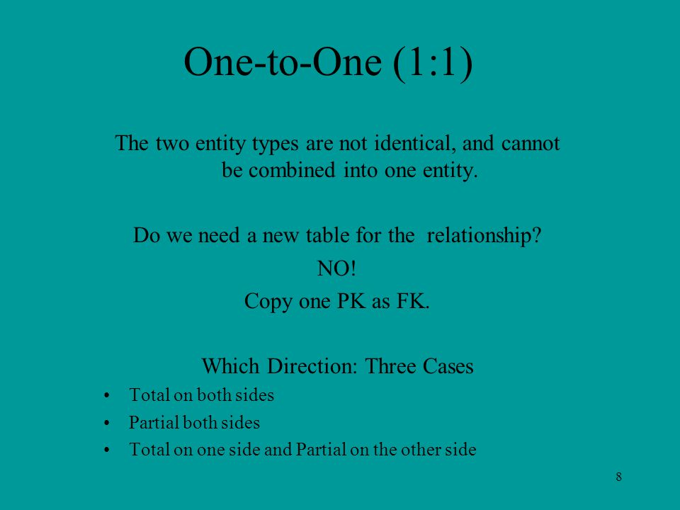 8 One-to-One (1:1) The two entity types are not identical, and cannot be combined into one entity.