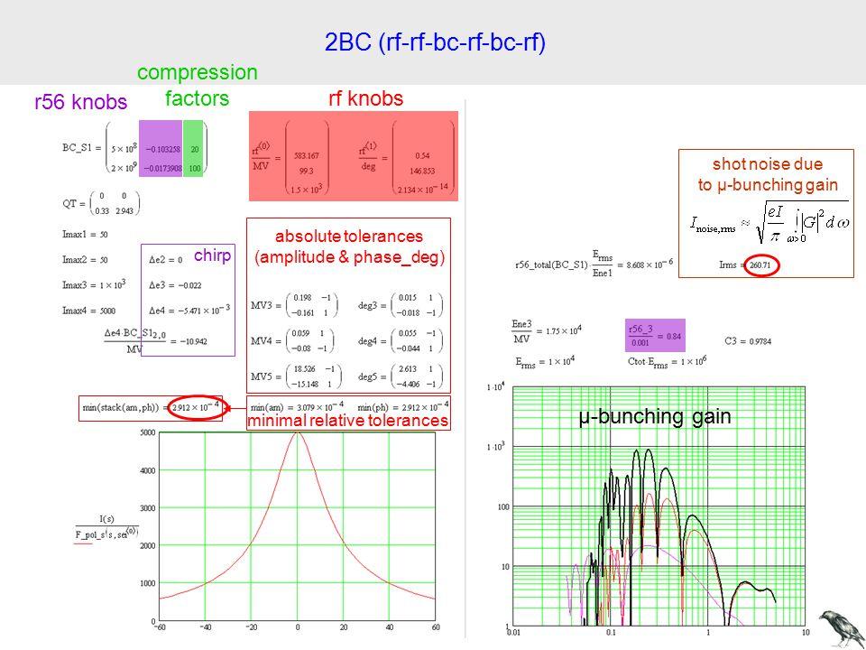 2BC (rf-rf-bc-rf-bc-rf) rf knobs r56 knobs compression factors absolute tolerances (amplitude & phase_deg) µ-bunching gain chirp minimal relative tolerances shot noise due to µ-bunching gain