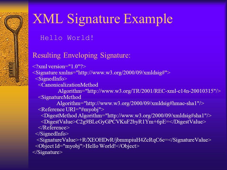 XML Signature Example <CanonicalizationMethod Algorithm= http://www.w3.org/TR/2001/REC-xml-c14n-20010315 /> <SignatureMethod Algorithm= http://www.w3.org/2000/09/xmldsig#hmac-sha1 /> C2g9BLcGyGPCVKuF2byR1Ym+6pE= +R/XEOHDvR/jbmmpiuH4ZcRqC6c= Hello World.