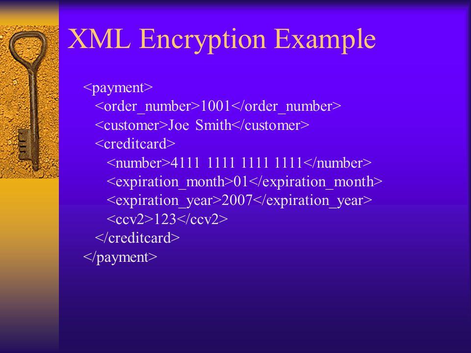 XML Encryption Example 1001 Joe Smith 4111 1111 1111 1111 01 2007 123