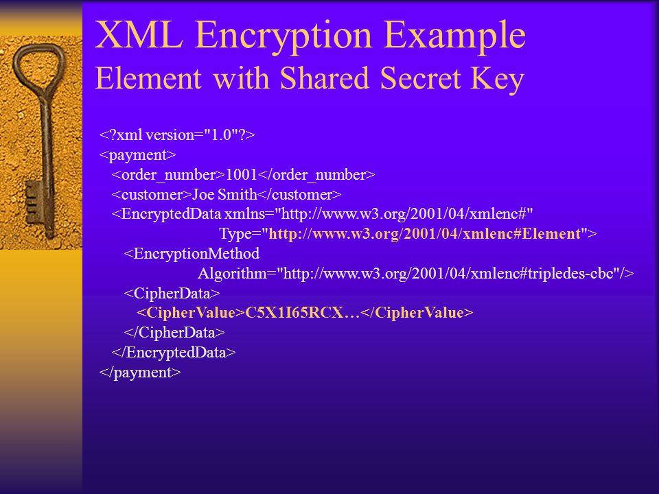 XML Encryption Example Element with Shared Secret Key 1001 Joe Smith <EncryptedData xmlns= http://www.w3.org/2001/04/xmlenc# Type= http://www.w3.org/2001/04/xmlenc#Element > <EncryptionMethod Algorithm= http://www.w3.org/2001/04/xmlenc#tripledes-cbc /> C5X1I65RCX…