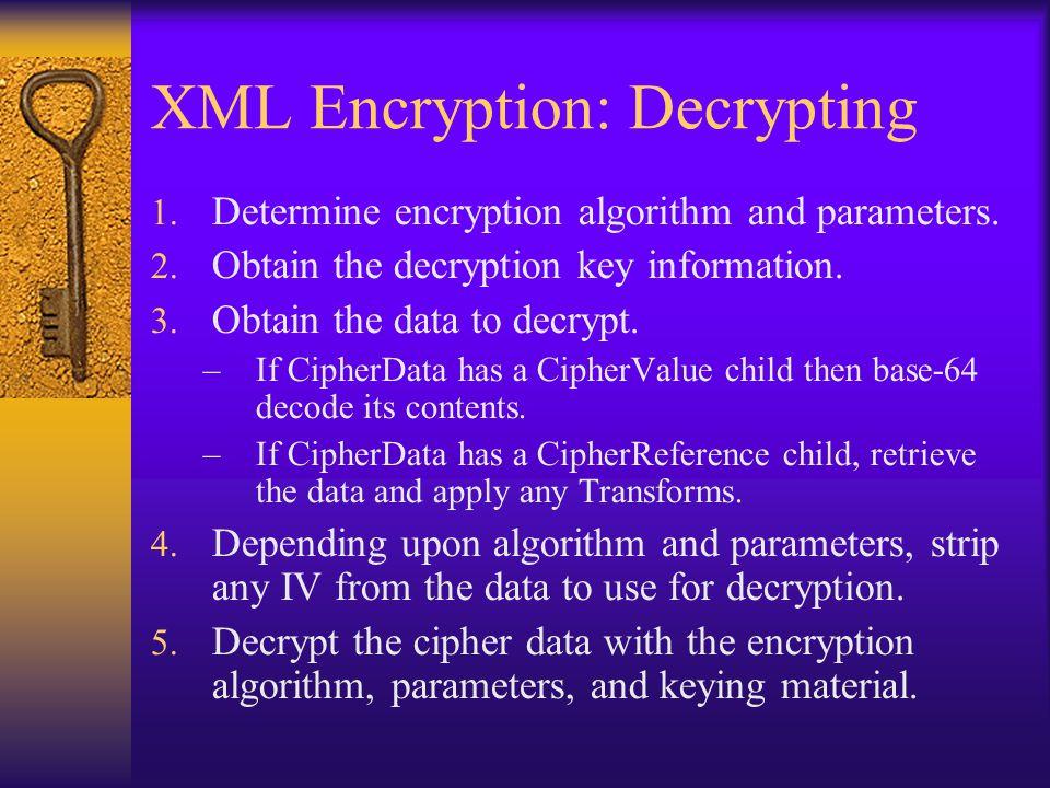 XML Encryption: Decrypting 1. Determine encryption algorithm and parameters.