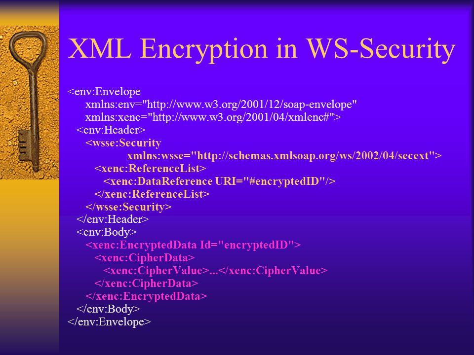 XML Encryption in WS-Security <env:Envelope xmlns:env= http://www.w3.org/2001/12/soap-envelope xmlns:xenc= http://www.w3.org/2001/04/xmlenc# > <wsse:Security xmlns:wsse= http://schemas.xmlsoap.org/ws/2002/04/secext >...