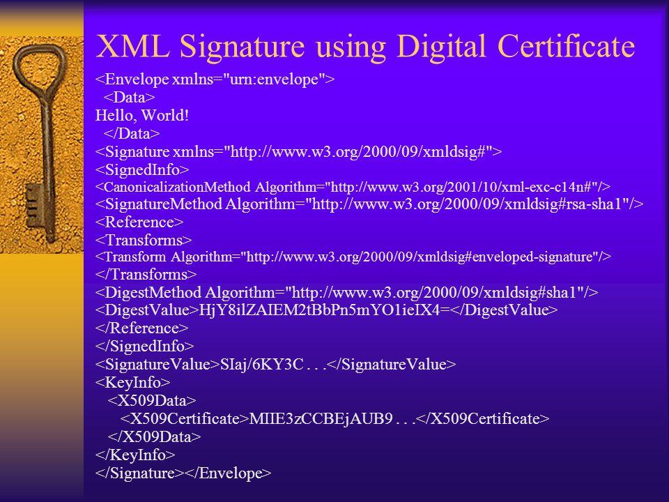 XML Signature using Digital Certificate Hello, World.