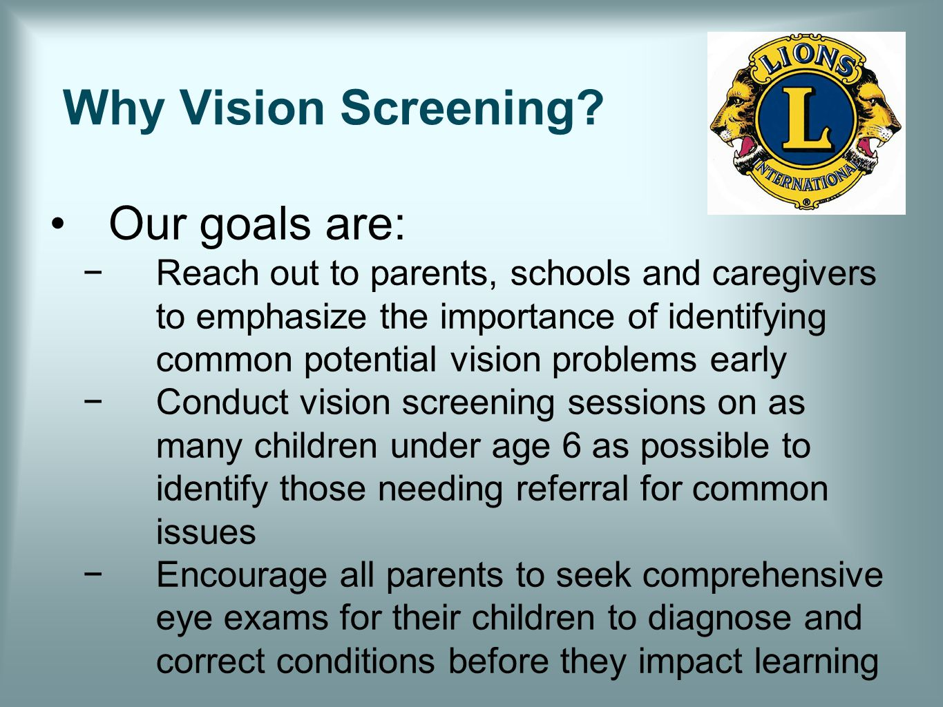 Why Vision Screening.