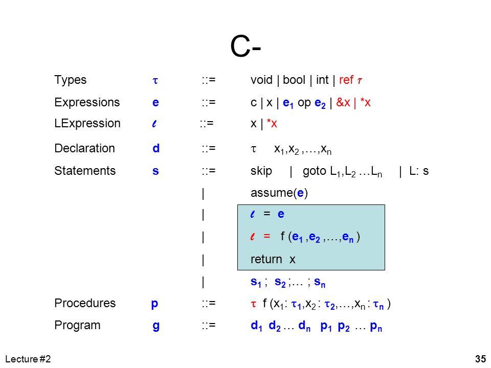Lecture #235 Types  ::= void | bool | int | ref  Expressionse::=c | x | e 1 op e 2 | &x | *x LExpression l ::= x | *x Declarationd::=  x 1,x 2,…,x n Statementss::=skip | goto L 1,L 2 …L n | L: s | assume(e) | l = e | l = f (e 1,e 2,…,e n ) |return x |s 1 ; s 2 ;… ; s n Procedures p ::=  f (x 1 :  1,x 2 :  2,…,x n :  n ) Programg ::= d 1 d 2 … d n p 1 p 2 … p n C-