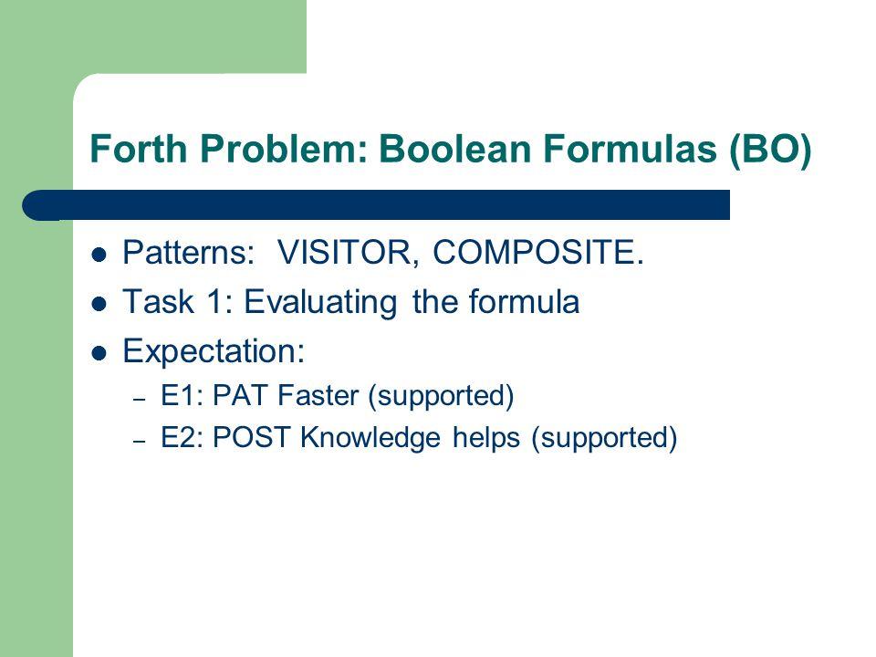 Forth Problem: Boolean Formulas (BO) Patterns: VISITOR, COMPOSITE.