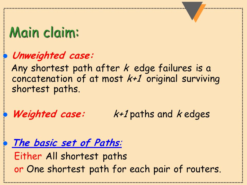 Main claim: l Unweighted case: Any shortest path after k edge failures is a concatenation of at most k+1 original surviving shortest paths.