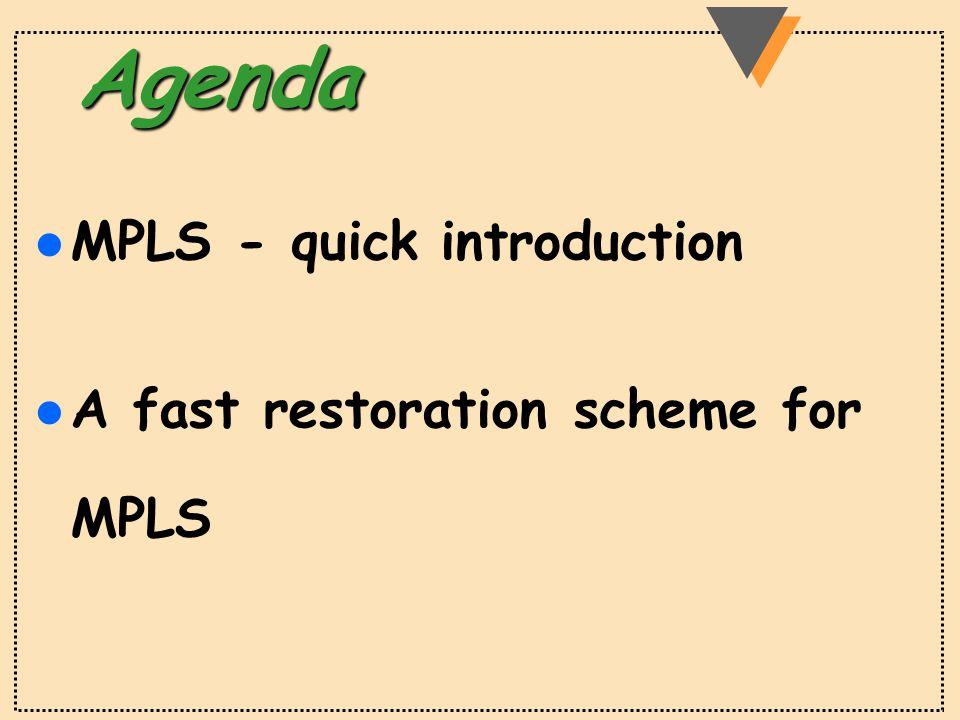 Agenda l MPLS - quick introduction l A fast restoration scheme for MPLS