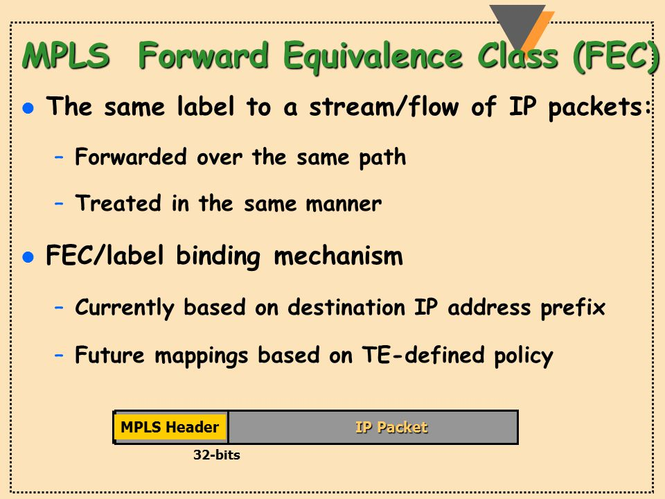MPLS Forward Equivalence Class (FEC) l The same label to a stream/flow of IP packets: –Forwarded over the same path –Treated in the same manner l FEC/label binding mechanism –Currently based on destination IP address prefix –Future mappings based on TE-defined policy IP Packet 32-bits MPLS Header