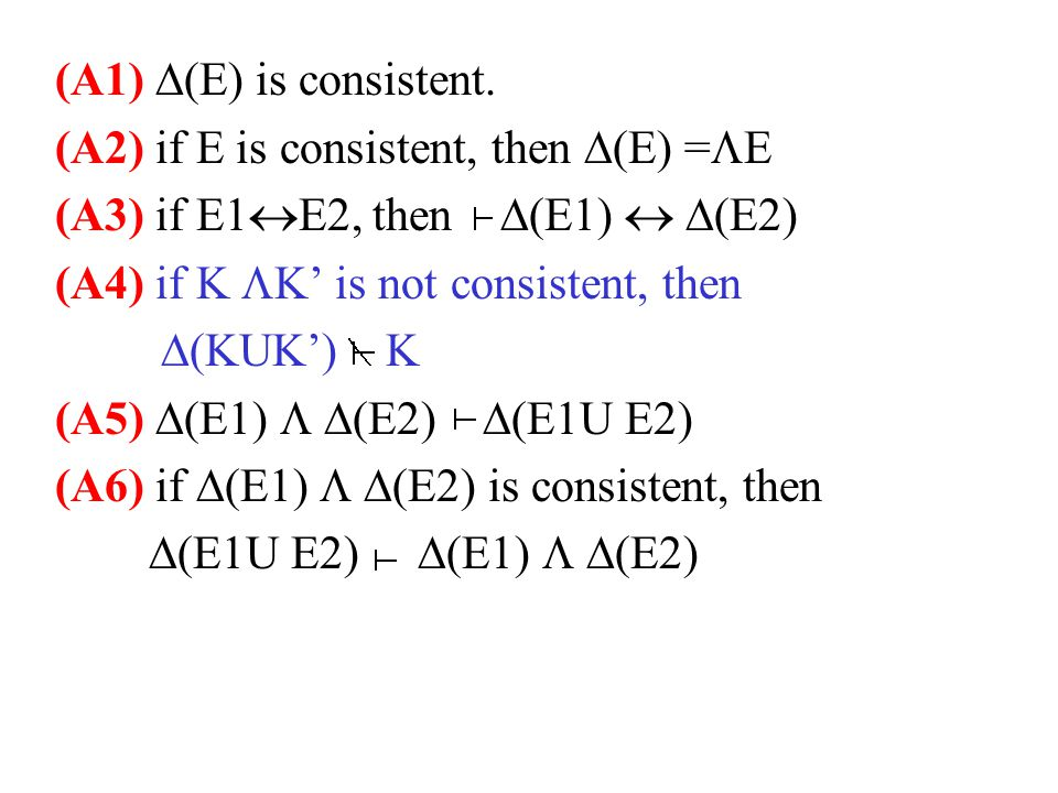 (A1)  (E) is consistent.