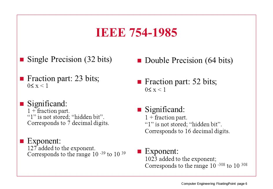 Computer Engineering FloatingPoint page 7 IEEE 754-1985 Special features: –Correct rounding of halfway result (to even number).