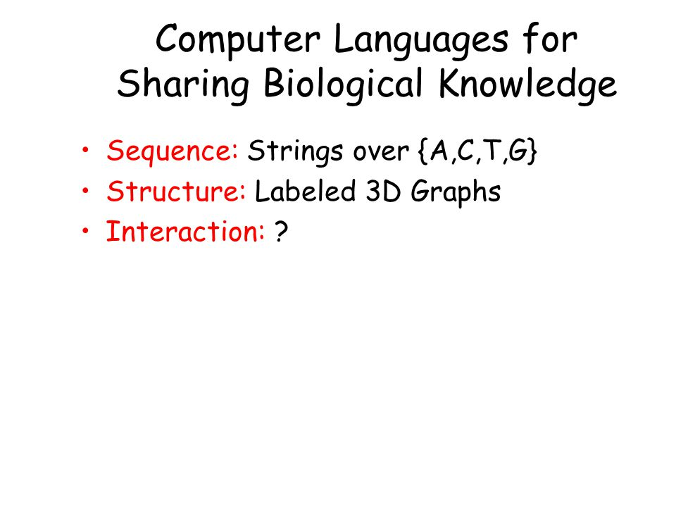 Computer Languages for Sharing Biological Knowledge Sequence: Strings over {A,C,T,G} Structure: Labeled 3D Graphs Interaction: