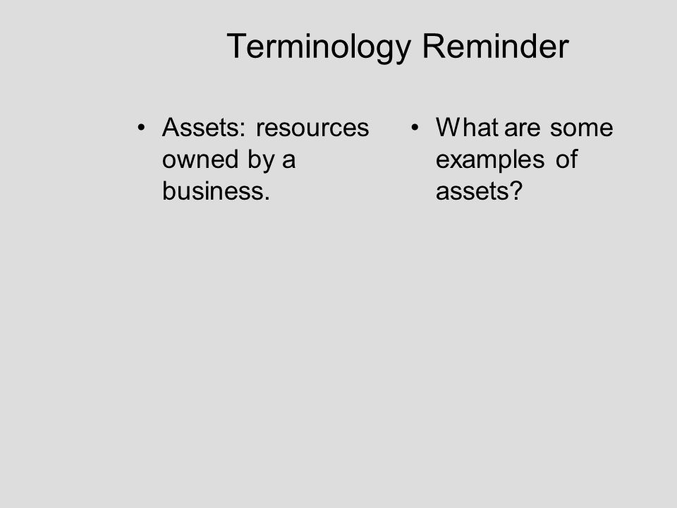 Terminology Reminder Assets: resources owned by a business. What are some examples of assets?