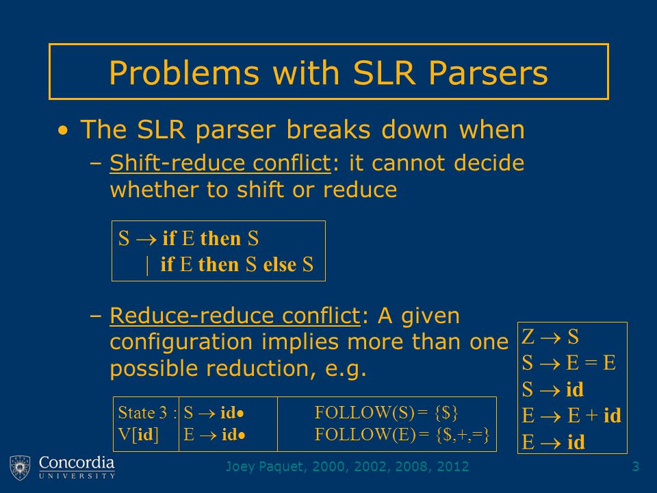 Joey Paquet, 2000, 2002, 2008, 20123 Problems with SLR Parsers The SLR parser breaks down when –Shift-reduce conflict: it cannot decide whether to shift or reduce –Reduce-reduce conflict: A given configuration implies more than one possible reduction, e.g.