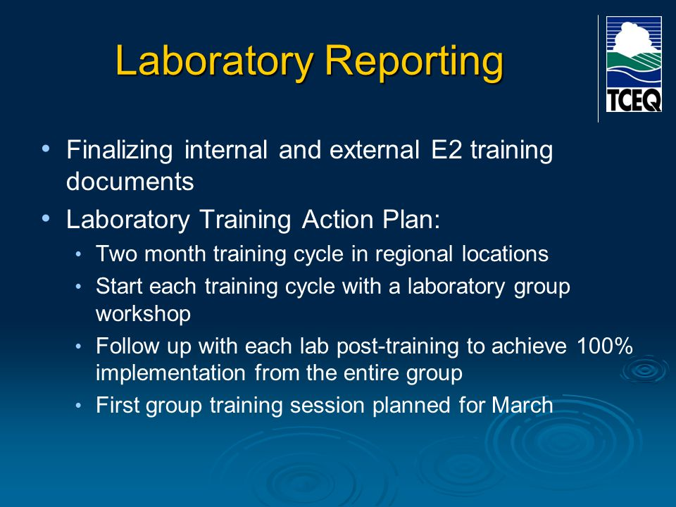 Laboratory Reporting Finalizing internal and external E2 training documents Laboratory Training Action Plan: Two month training cycle in regional loca