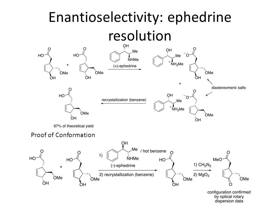 Enantioselectivity: ephedrine resolution Proof of Conformation