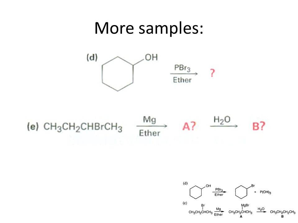 Nucleophilic Reactions R-X, alkyl halides are ELECTROPHILES (positive or electron-poor) They react with NUCLEOPHILES/BASES (negative or electron-rich) Either substitution – C-C-X becomes C-C-blah + X- or elimination reactions – C-C-X becomes C=C + X-