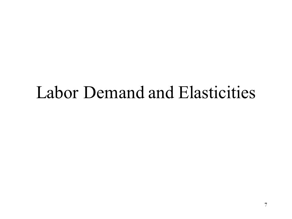 7 Labor Demand and Elasticities