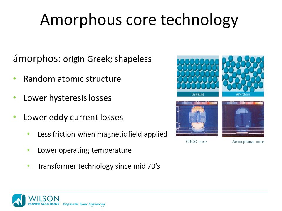 Amorphous core technology CRGO core Amorphous core ámorphos: origin Greek; shapeless Random atomic structure Lower hysteresis losses Lower eddy current losses Less friction when magnetic field applied Lower operating temperature Transformer technology since mid 70's