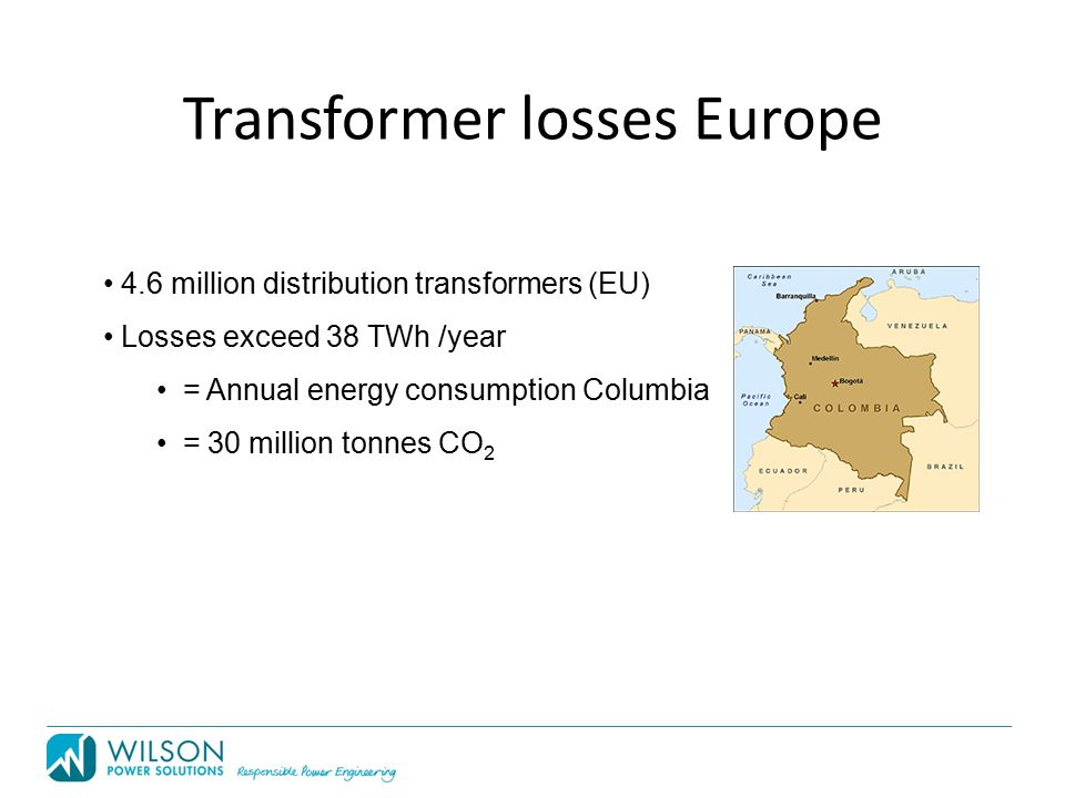 Transformer losses Europe 4.6 million distribution transformers (EU) Losses exceed 38 TWh /year = Annual energy consumption Columbia = 30 million tonnes CO 2