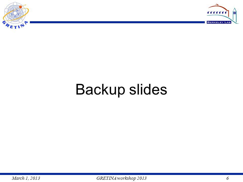 March 1, 2013GRETINA workshop 20136 Backup slides