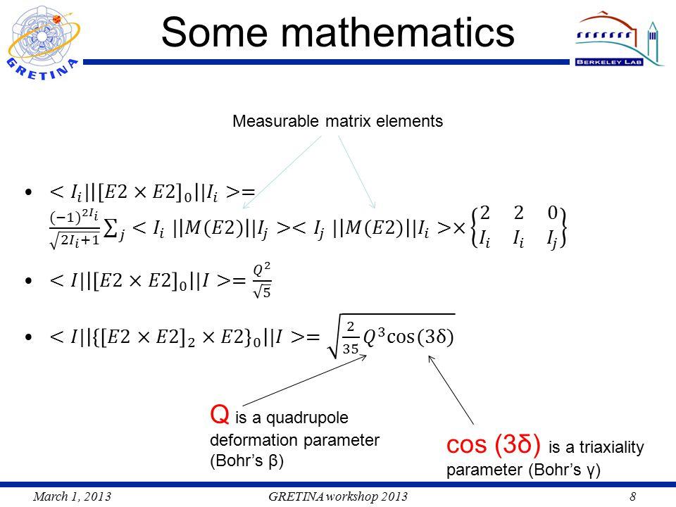 March 1, 2013GRETINA workshop 20138 Some mathematics Measurable matrix elements Q is a quadrupole deformation parameter (Bohr's β) cos (3δ) is a triaxiality parameter (Bohr's γ)