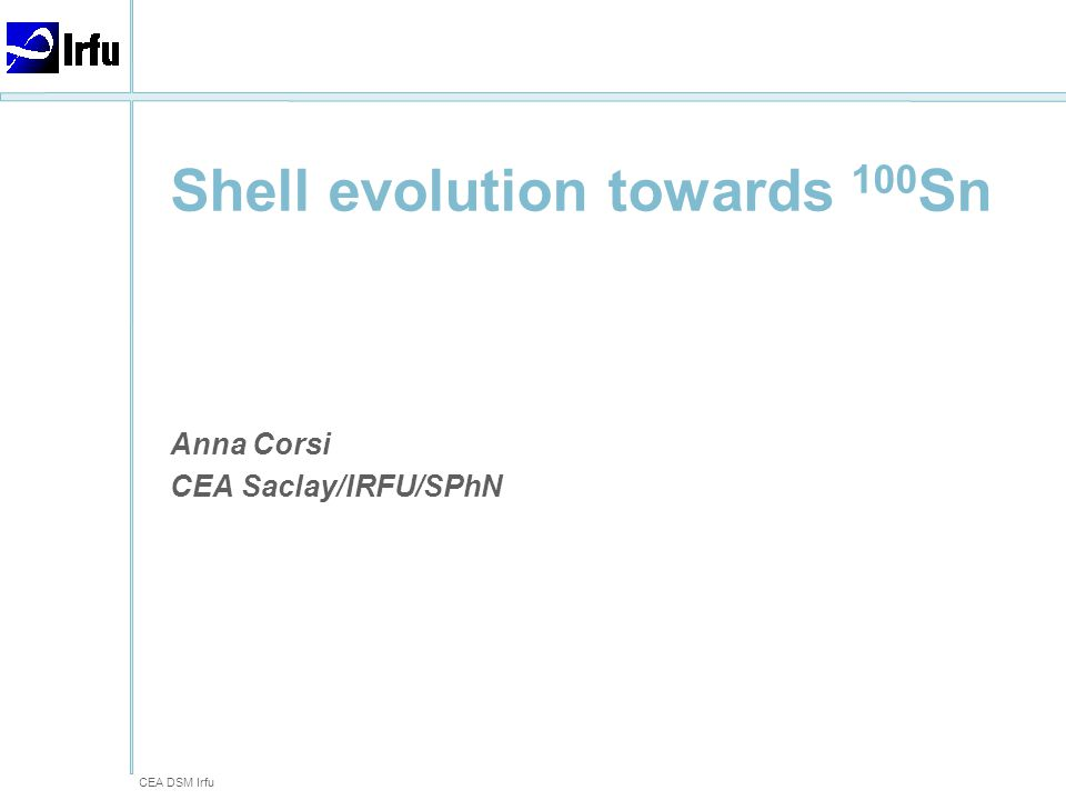 CEA DSM Irfu -Anna Corsi - Shell evolution towards 100Sn Local team (RIKEN, CNS, RCNP) P.Doornenbal, M.Matsushita, D.Steppenbeck, S.Takeuchi, H.Wang, N.Aoi, H.Baba, K.Matsui, T.Motobayashi, D.Nishimura, S.Ota, H.Sakurai, H Shiga, R.