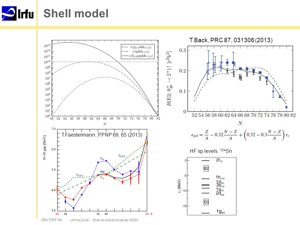 CEA DSM Irfu Shell model -Anna Corsi - Shell evolution towards 100Sn HF sp levels, 104 Sn T.Back, PRC 87, 031306 (2013) T.Faestermann, PPNP 69, 85 (2013)