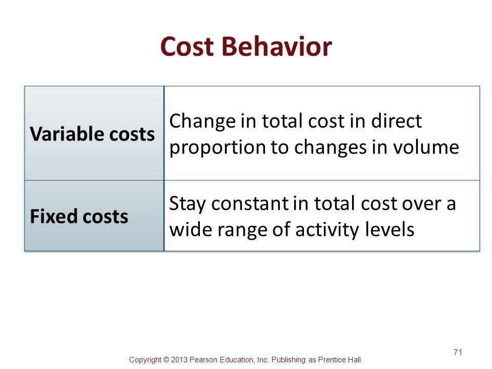 Copyright © 2013 Pearson Education, Inc. Publishing as Prentice Hall. Cost Behavior 71