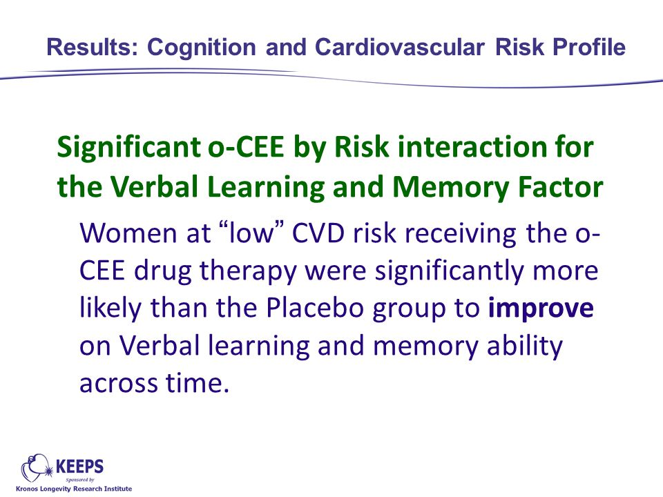 Significant o-CEE by Risk interaction for the Verbal Learning and Memory Factor Women at low CVD risk receiving the o- CEE drug therapy were significantly more likely than the Placebo group to improve on Verbal learning and memory ability across time.