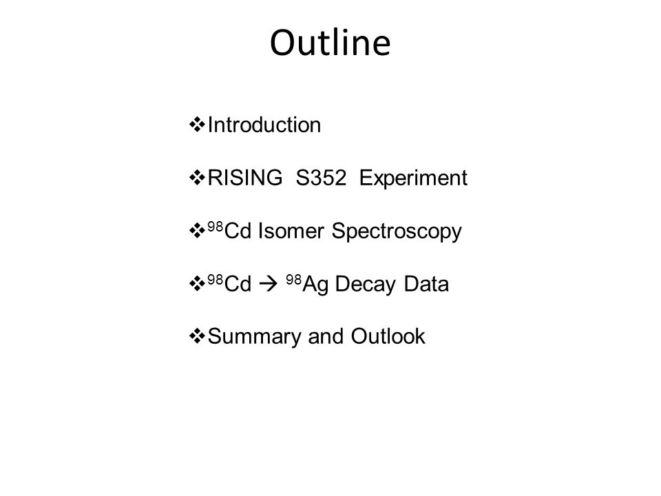  Introduction  RISING S352 Experiment  98 Cd Isomer Spectroscopy  98 Cd  98 Ag Decay Data  Summary and Outlook Outline
