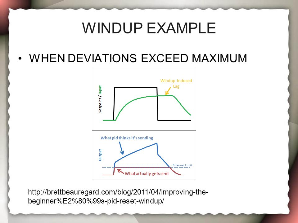 WINDUP EXAMPLE WHEN DEVIATIONS EXCEED MAXIMUM http://brettbeauregard.com/blog/2011/04/improving-the- beginner%E2%80%99s-pid-reset-windup/