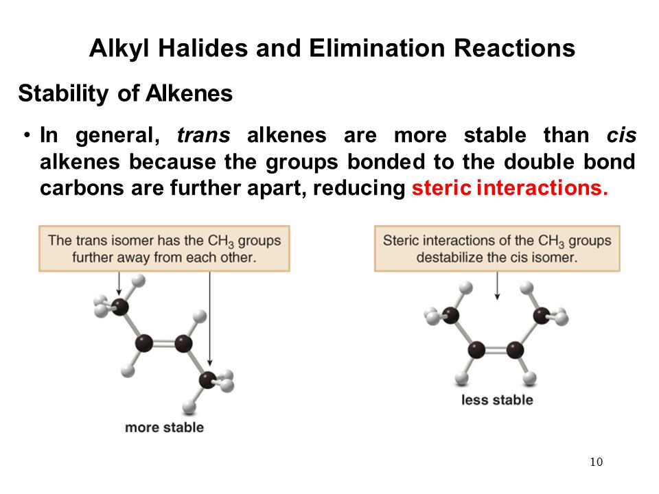 10 Alkyl Halides and Elimination Reactions In general, trans alkenes are more stable than cis alkenes because the groups bonded to the double bond car