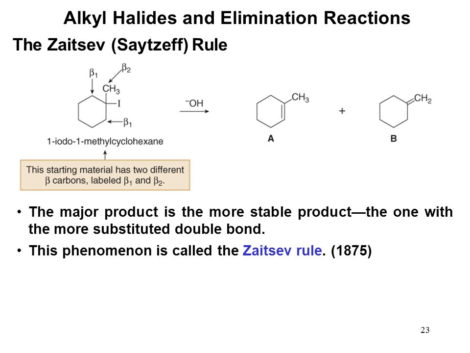 23 Alkyl Halides and Elimination Reactions The major product is the more stable product—the one with the more substituted double bond. This phenomenon