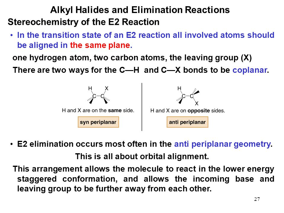 27 Alkyl Halides and Elimination Reactions In the transition state of an E2 reaction all involved atoms should be aligned in the same plane. one hydro