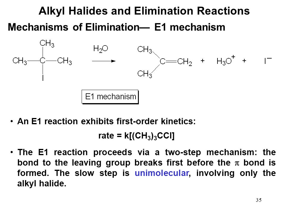 35 Alkyl Halides and Elimination Reactions An E1 reaction exhibits first-order kinetics: Mechanisms of Elimination— E1 mechanism rate = k[(CH 3 ) 3 CC