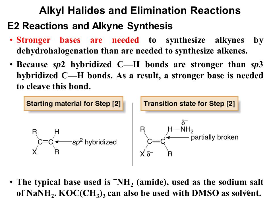 46 Alkyl Halides and Elimination Reactions Stronger bases are needed to synthesize alkynes by dehydrohalogenation than are needed to synthesize alkene
