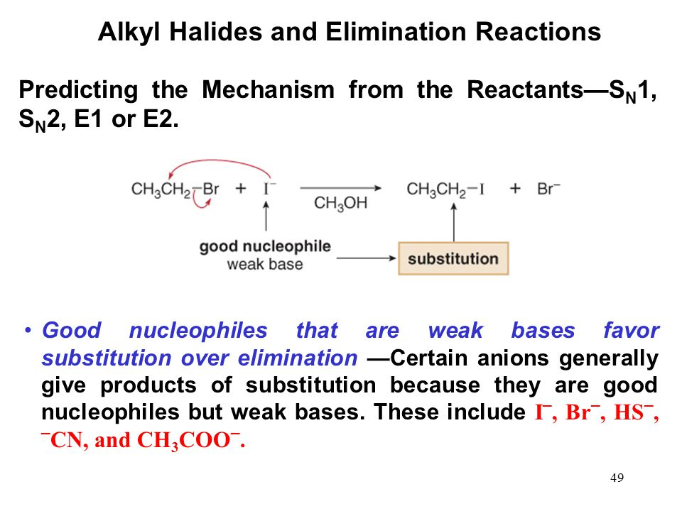 49 Alkyl Halides and Elimination Reactions Good nucleophiles that are weak bases favor substitution over elimination —Certain anions generally give pr