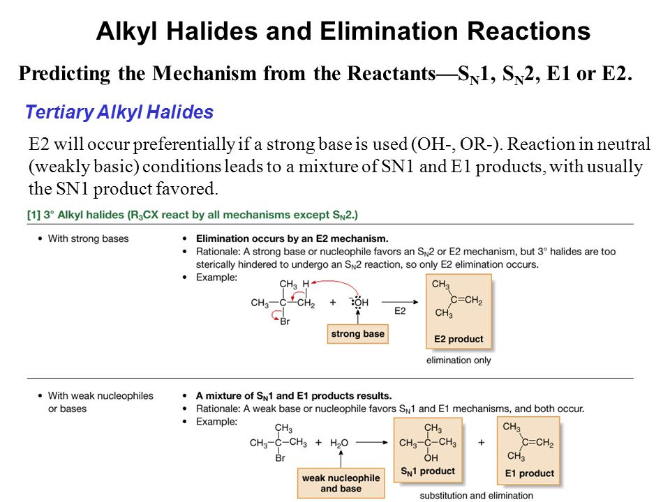 52 Predicting the Mechanism from the Reactants—S N 1, S N 2, E1 or E2. Alkyl Halides and Elimination Reactions Tertiary Alkyl Halides E2 will occur pr