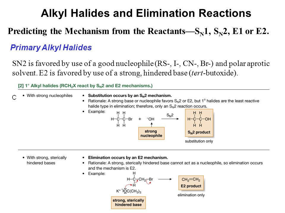 53 Predicting the Mechanism from the Reactants—S N 1, S N 2, E1 or E2. Alkyl Halides and Elimination Reactions Primary Alkyl Halides SN2 is favored by